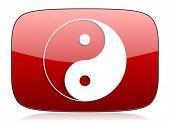 stock photo of ying-yang  - ying yang red glossy web icon  - JPG