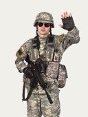 picture of stop fighting  - soldier with rifle showing stop symbol - JPG