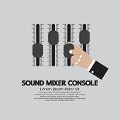 stock photo of mixer  - Hand With Sound Mixer Console Vector Illustration - JPG