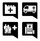 foto of infirmary  - set four isolated black medical pointer icons - JPG
