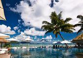 stock photo of jetties  - Luxury poolside jetty at Seychelles - JPG