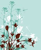 picture of wildflowers  - Decorative nature vector green background with wildflowers - JPG