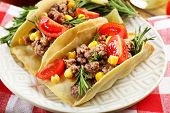 picture of tacos  - Mexican food Tacos in plate on napkin - JPG