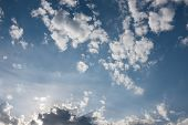 picture of cloudy  - Cloudy blue sky background high res texture - JPG