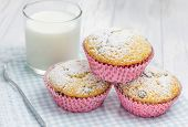 image of chocolate muffin  - Homemade muffins with chocolate chips and glass of milk closeup - JPG