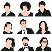 foto of goatee  - Vector illustration with a very detailed collection of silhouettes of men - JPG