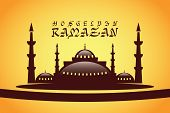 image of ramadan calligraphy  - Islamic Calligraphy of shiny text Ramadan Kareem or Ramadan with silhouette of Mosque or Masjid in moon light night background - JPG