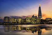 pic of city hall  - New London city hall at sunset panoramic view from Thames river - JPG