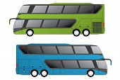 picture of motor coach  - Double decker coaches side view on white - JPG