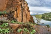 picture of horsetooth reservoir  - rocky shore and canoe  - JPG