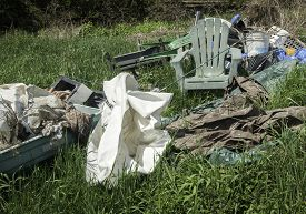 picture of tarp  - Garbage out back of yard in grass - JPG