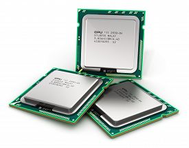 image of cpu  - Modern PC central processors CPU isolated on white background - JPG