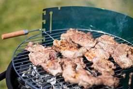 picture of grils  - Pork Meat Chop Cooked On The Barbecue Gril Outdoors - JPG