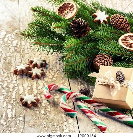 Christmas Holiday Setting With Retro Decorations And Fir Branches