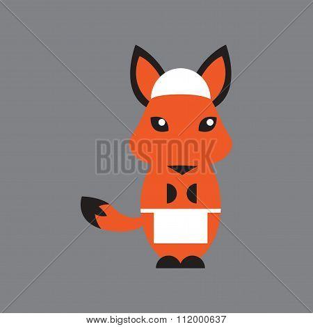 flat icon on gray background fox cartoon