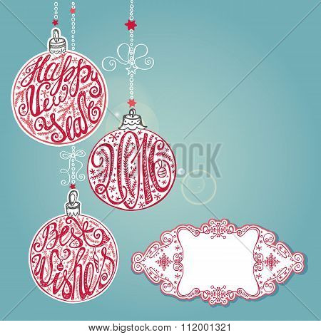 New year,Christmas card ,lettering balls.Blue