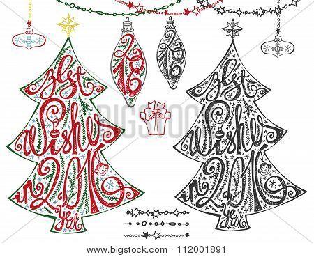 Christmas tree.Lettering,balls,garlands