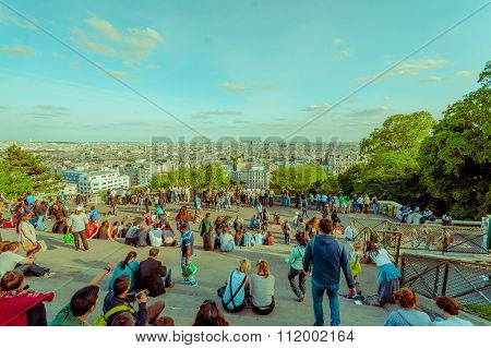 Impressive summer view of Paris from Montmartre hill, France