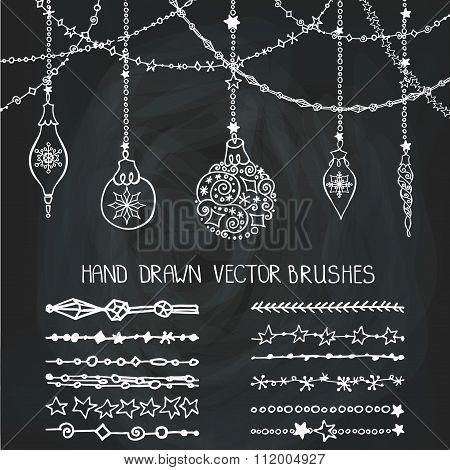 Christmas garland brushes,balls.Chalkboard