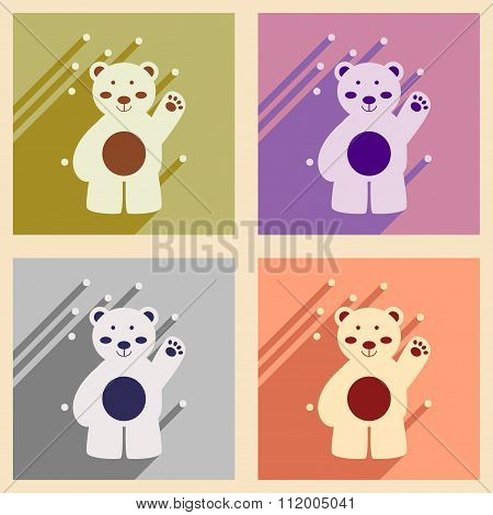Set of flat icons with long shadow northern bear