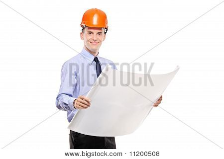 Foreman Holding A Blueprints