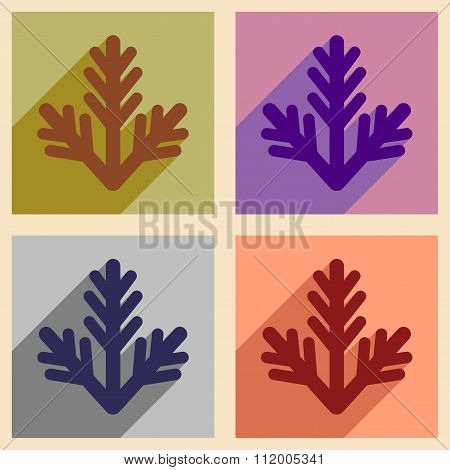 Set of flat icons with long shadow fur-tree branch