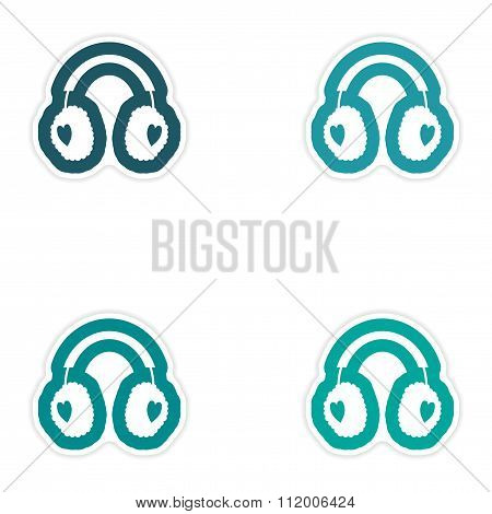 Set of paper stickers on white background earmuffs hearts