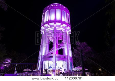 Colourfully Lightened Water-tower - 3. Lilac