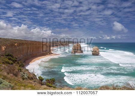 Two Of The Twelve Apostles Rocks On  Great Ocean Road, Australia