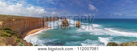 Panorama Of Two Of The Twelve Apostles Rocks On  Great Ocean Road, Australia