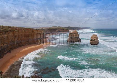 Two Of The Famous Twelve Apostles Rocks On  Great Ocean Road, Australia