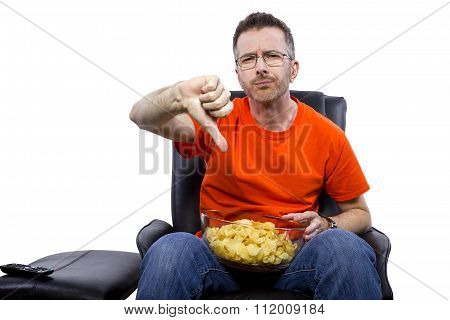 Front view of man watching TV