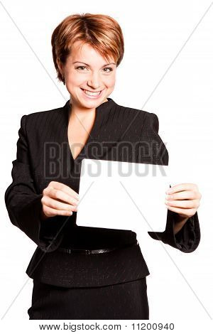 Beautiful business woman with empty card