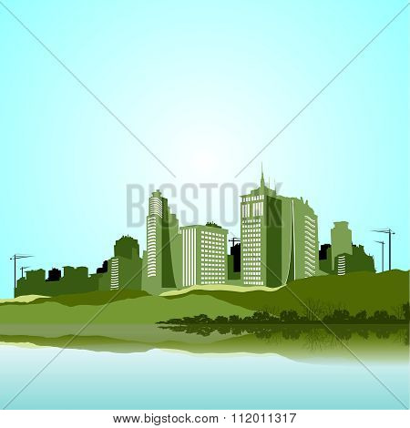 Vector Urban City Skyline Ilustration