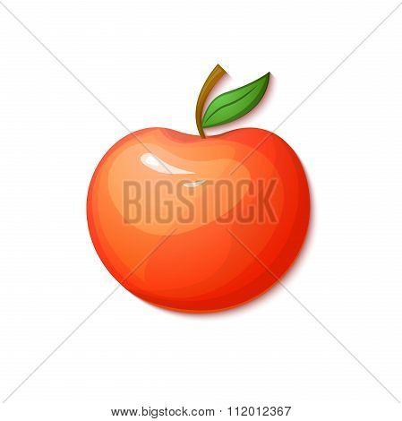 Red apple, vector illustration in cartoon style