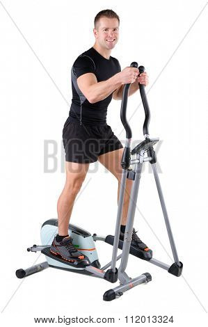 young cute sporty woman doing exercises with elliptical trainer, on white background