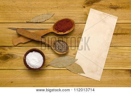 Spices And Salt In A Wooden Shaker
