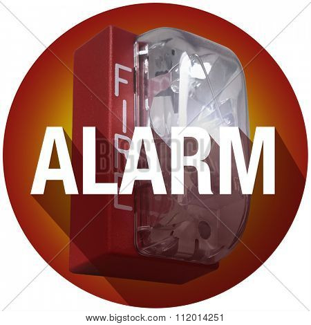 Alarm word with long shadow on a fire alert for a crisis or emergency evacuation