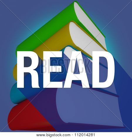 Read word with long shadow on a stack or pile of books for learning or education at a school or library