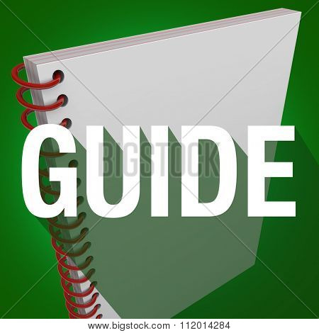 Guide word with long shadow on an instruction manual for learning directions or steps for a job, task or project