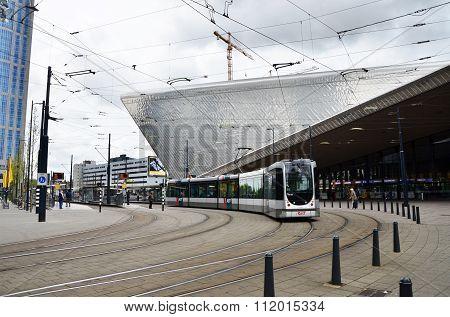 Rotterdam, Netherlands - May 9, 2015: Passengers At Rotterdam Central Station.