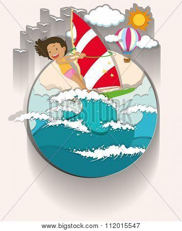 Girl windsurfing in the sea illustration