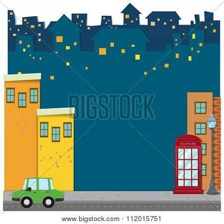 Buildings and car on the road illustration