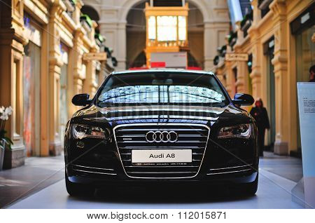 Moscow, Russia  - September 2010: An Audi A8 Exhibited In Gym, Moscow.