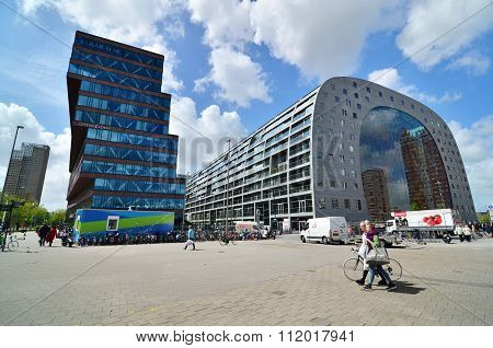 Rotterdam, Netherlands - May 9, 2015: People Visit Market Hall Near Blaak Station In Rotterdam.