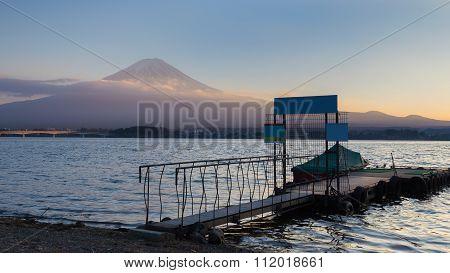 Fuji Mountain background sunset