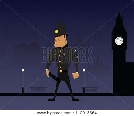 Traditional English Bobby In Helmet And Black Uniform. Vector Image