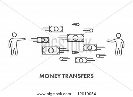 Line Icon Money Transfer. Vector Business Symbol