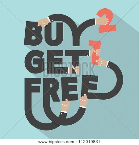 Buy 2 Get 1 Free Typography Design.