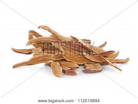 Piece Of Dry Ling Zhi Mushroom On White Background.